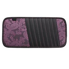 Flor padrão Sênior Multifuncional PU Leather Car Sun Visor Clipe CD