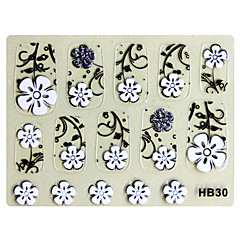 3PCS 3D Nail Art Stickers HB Series No.7 Zwart Cartoon Transparant