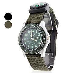 להקת יוניסקס קוורץ אנלוגית בד עם שעון יד מצפן (צבעים שונים)