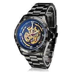SHENHUA® Men's Auto-Mechanical Hollow Dial Black Steel Band Wrist Watch Cool Watch Unique Watch