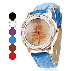 Mujeres Eiffel Tower Estilo PU analógico de cuarzo reloj de pulsera (colores surtidos)