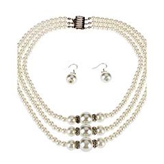 3 Layer Pearl Necklace Earrings Bracelet Set
