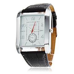 För män PU Analog Quartz Wrist Watch (Black)