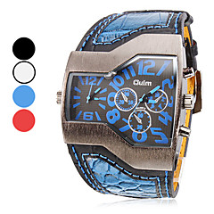 Men's Watch Military Trapezoidal Dial Dual time zones PU Band