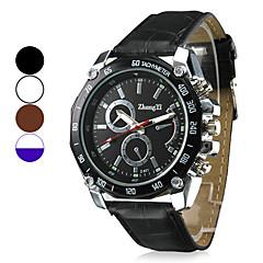 relógio de marcação de design racing pu pulseira de couro de pulso de quartzo dos homens (cores sortidas)