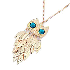Gold Plated Alloy Zircon Leaf Owl Pattern Necklace