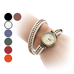 Women's Retro Style Leather Analog Quartz Bracelet Watch (Assorted Colors)