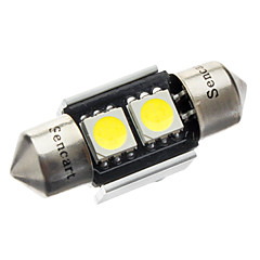 31mm 1W 2-LED 70-80LM 6000-6500K White Light Bulb til bil CANBUS (DC 12V)