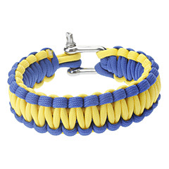 Tyylikäs Survival Hehkuva-in-the-dark Paracord rannerengas Stainless Steel Buckle (Blue & Yellow)