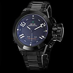 Herr Armbandsur Japansk kvartsur LED / Kalender / Kronograf / Vattenavvisande / Dubbel tidszon / alarm Rostfritt stål Band Svart Stämpla-