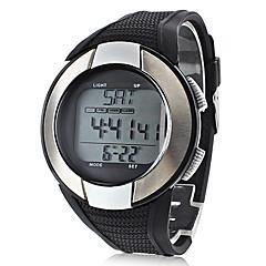 Herren Damen Unisex Sportuhr LCD Pulsmesser Kalender Chronograph Wasserdicht Alarm digital Silikon Band Schwarz