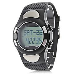Herr Armbandsur Digital LCD Kalender Kronograf Vattenavvisande alarm Gummi Band Svart Svart