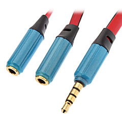 3.5mm Male to 2x3.5mm Female Audio Cable Blue (0.2M)