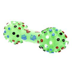 큰 발자국과 개를위한 뼈 패턴 고무 삐걱 거리는 아령 모양 장난감 (분류 된 색깔)