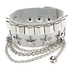 Pentagram Combination Square Nails Metal Rivets Leather white Bracelet