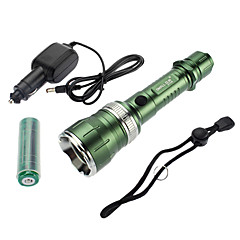 Samllsun Instelbare focus Waterdicht Recharge 5-Mode Cree T6 LED zaklamp ZY-T35 (350LM, 2x18650, Groen)