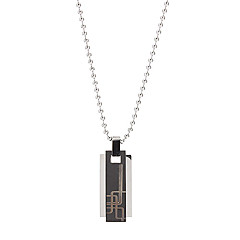 Fashion Titanium Steel Rectangular Man Necklace
