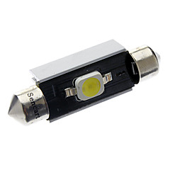 41mm/42mm 2W 1x7060SMD 90-110LM 6000-6500K White Light LED bilen lampe (DC 12-18V)