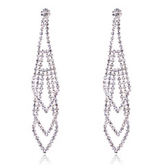 Fashion Silver Plated Claw Crystal Earrings