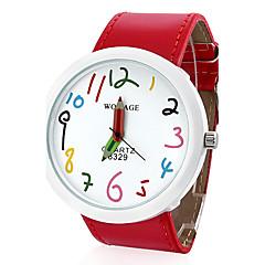 Naisten PU Analog Quartz Wrist Watch (Punainen)