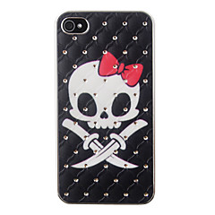 Bowknot Skull Pattern Zircon Back Case for iPhone 4/4S
