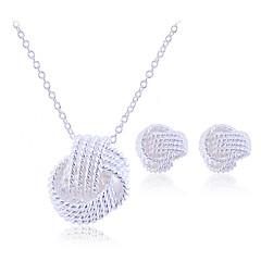Mulheres Conjunto de Jóias Brincos Curtos Colares com Pendentes Elegant bijuterias Trançado Casamento Prata de Lei Liga Jóias Colares