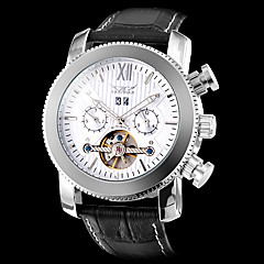 メンズ自動機械式トゥールビヨンシルバーケースカレンダー革バンド腕時計(アソートケース色)