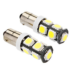 Ba9s 4W 9x5060SMD 320-360LM 6000-6500K White Light LED Bulb for Car (DC 12V, 2-Pack)