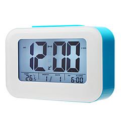 "4 ""Smart Light Sensor LCD Digital vækkeur kalender termometer (assorterede farver, 3xAAA)"