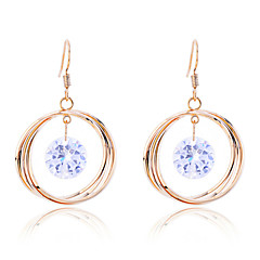 Lureme®Circle Zircon Drop Earrings