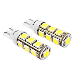 T10 6W 13x5060SMD 480-520LM 6000-6500K White Light LED pære for bil (12V DC, 2-Pack)
