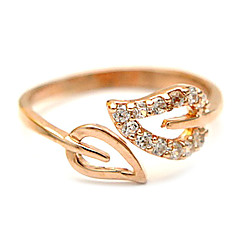 Heart matched zircon rose gold leaf opening adjustable ring (random color)