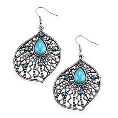 Luxurious Silver Big Flower with Blue Crystal and Turquoise Dangling Drop Earrings