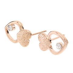 Rose Gold Double Heart Stud Earrings