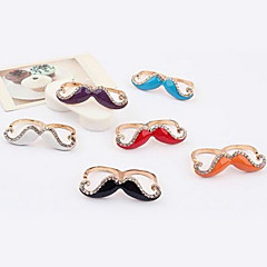Korean jewelry Rhinestone beard plated double ring (random color)