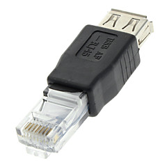 USB 2.0 aljzat RJ45 Nő Adapter Black Ethernet