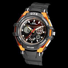 Männer Multi-Funktions-Analog-Digital-Runde Dial Rubber Band Quarz-Armbanduhr (farbig sortiert)