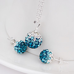New drop beads earring necklace pendant set Micro Pave CZ Disco Ball Bead