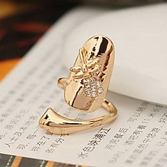LY Flash Diamond Alloy Nail Ring With Dragonfly Flower