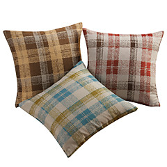 Set of 3 Traditional Plaid Polyester Decorative Pillow Cover