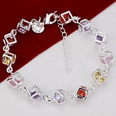 Silver Plated Square Cube Copper Chain Bracelet