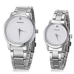 Unisex Simple Round Dial Steel Band Quartz Analog Couple's Watch(Assorted Colors)