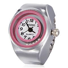 Kvinners Rolling Perler Round Dial Alloy Quartz Analog Ring Watch