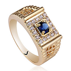 Classic Yellow Gold Plated Solid 925 Sterling Silver Men Ring With Round Zircon