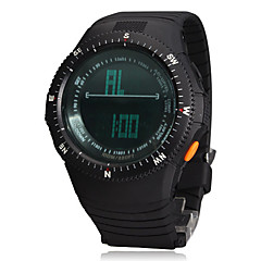 Men's Multi-Functional Digital Big Round Dial Rubber Band Wrist Watch (Assorted Colors)