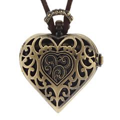 Frauen Heart Shaped Weinlese-Legierung Analog Quarz Halskette Uhr