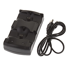 2 i 1 oplader dock station til PS3 Move PS3 Controllere (sort)