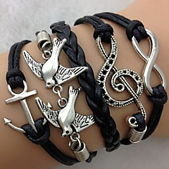 Multi Layers Anchor Wings Cross  Infinite Charms Handmade Leather Bracelets(Assorted Color)