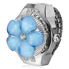 Blu a forma di fiore Copertina lega d'argento del quarzo dell'anello Orologio Donna
