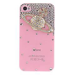 Or Saturne avec diamant couvert Hard Case avec la colle pour iPhone 4/4S (couleurs assorties)
